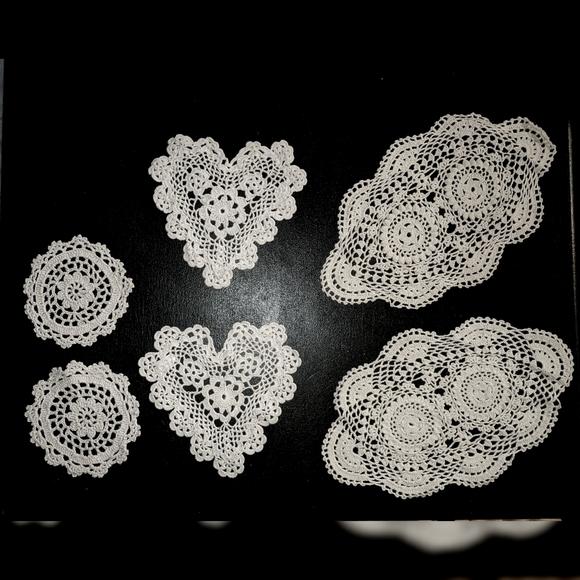 100% cotton handmade lace dollies 3 shapes bundle